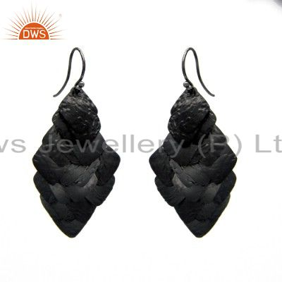 Handcrafted Black Rhodium Plated 925 Plain Silver Earring Manufacturer