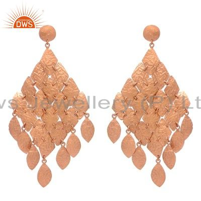 18K Rose Gold Plated Sterling Silver Classics Petals Womens Chandelier Earrings