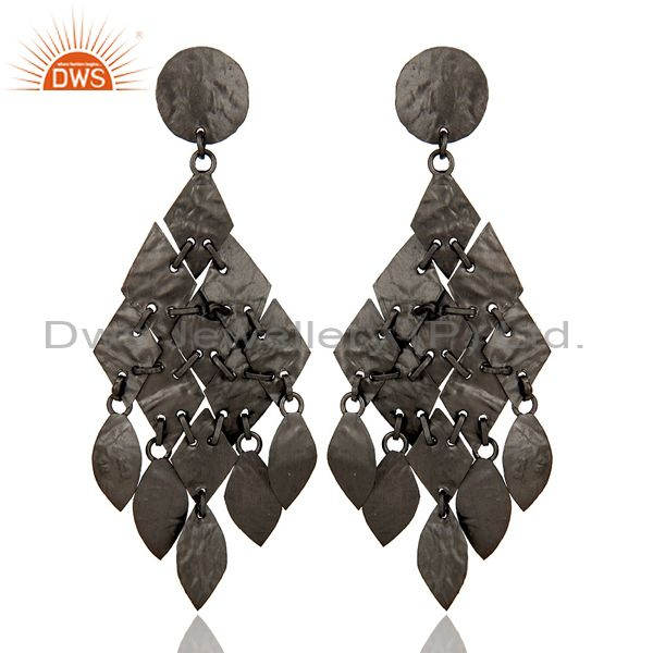 Oxidized Sterling Silver Hammered Petals Womens Chandelier Earrings
