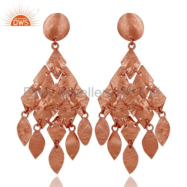 18K Rose Gold Plated Sterling Silver Petals Designer Chandelier Earrings