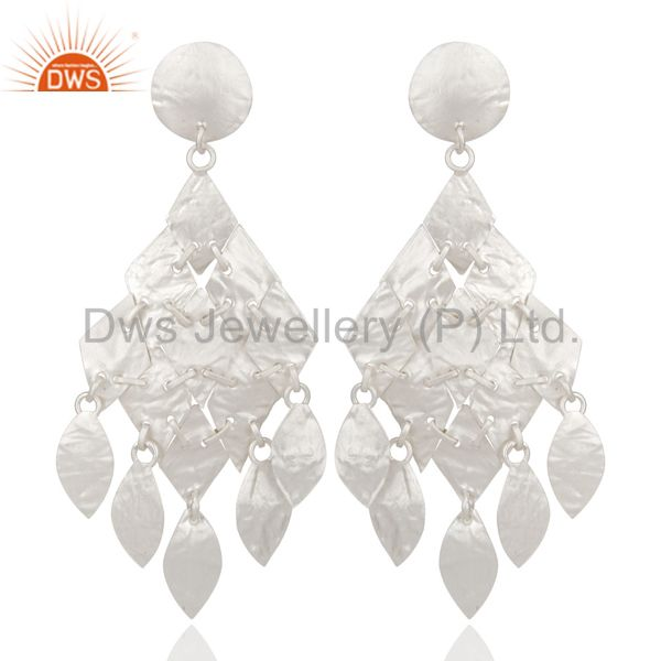 925 Sterling Silver Hammered Petals Womens Chandelier Earrings