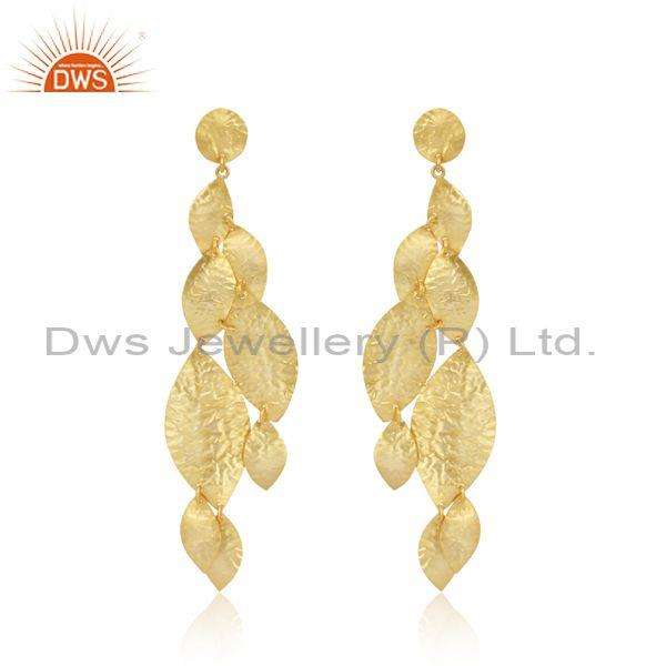 Handtextured Leaf Design Yellow Gold on Fashion Plain Earring