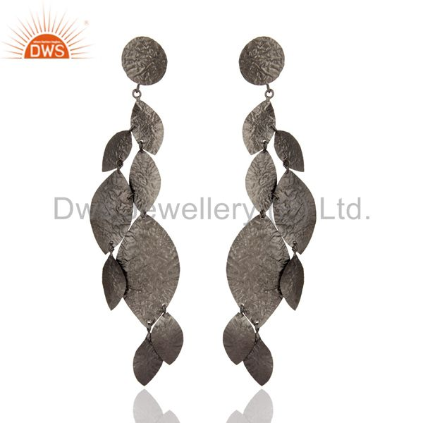 Oxidized Solid Sterling Silver Designer Chandelier Earrings