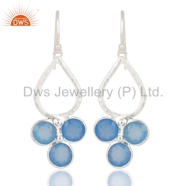 Solid 925 Sterling Silver Dyed Blue Chalcedony Bezel Set Dangle Earrings