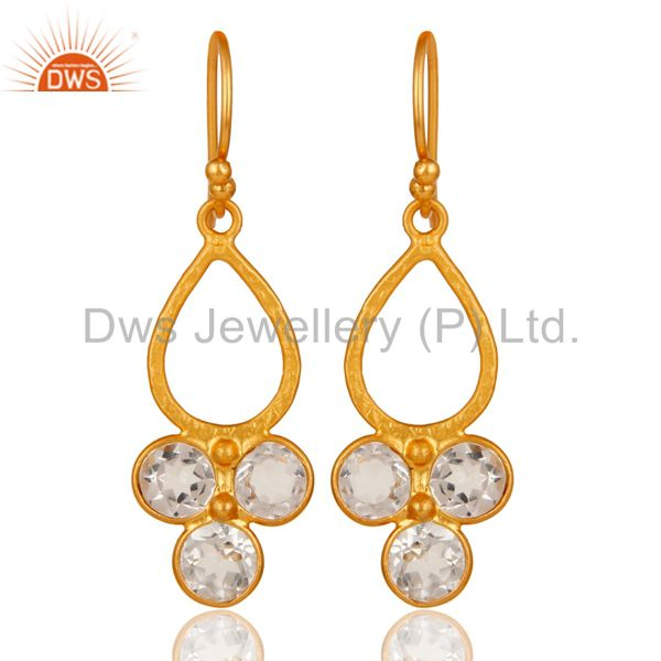 18K Gold Plated 925 Sterling Silver Crystal Quartz Dangle Earrings Jewelry