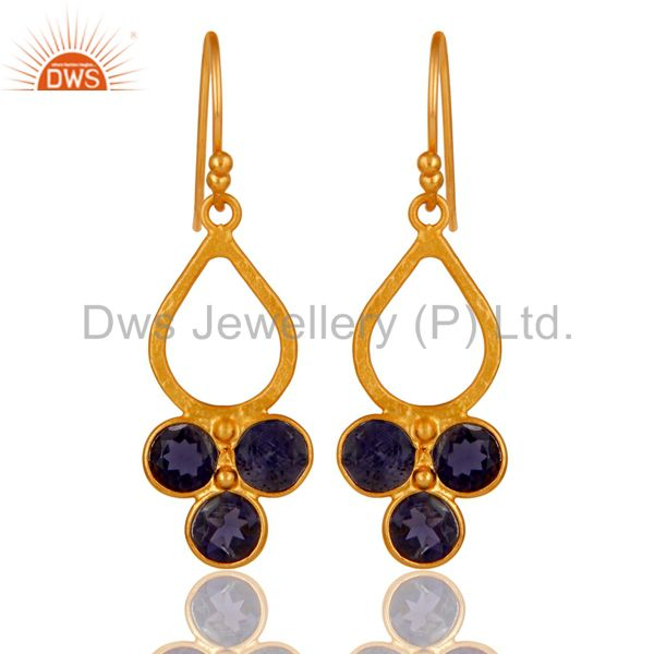 18K Gold Plated 925 Sterling Silver Handmade Iolite Dangle Earrings Jewelry