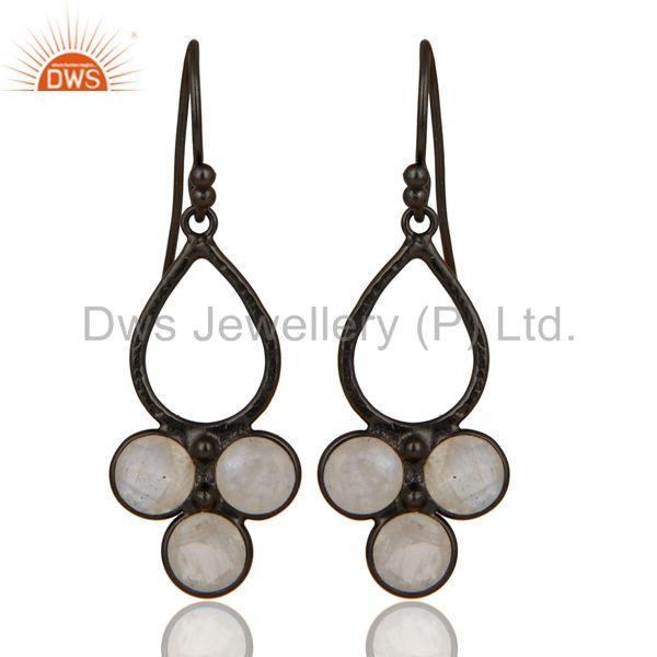 Black Oxidized 925 Sterling Silver Rainbow Moonstone Bezel Set Dangle Earrings
