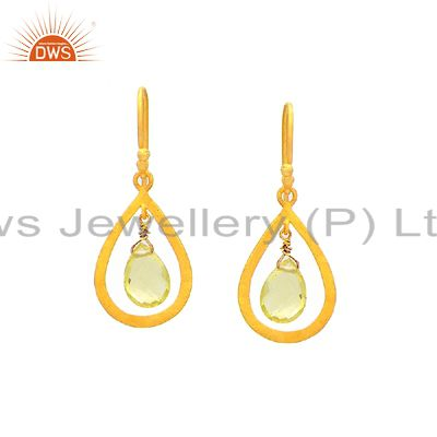 22K Yellow Gold Plated Sterling Silver Lemon Topaz Briolette Drop Earrings