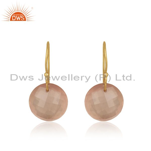 Solid 9k Yellow Gold Rose Quartz Gemstone Earring Manufacturer Jaipur