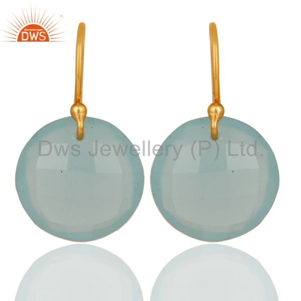 Lab-Created Aqua Blue Chalcedony Gold Plated Sterling Silver Hook Earrings
