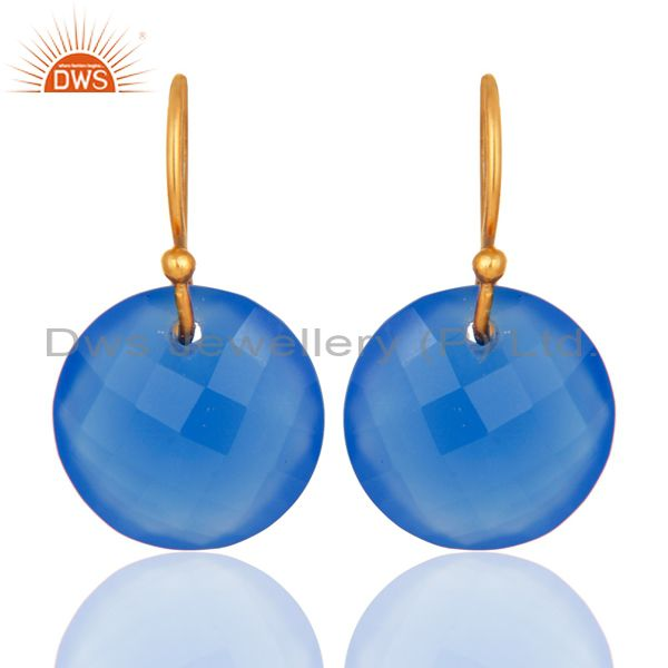 Faceted Dyed Blue Chalcedony Yellow Gold Plated Sterling Silver Hook Earrings