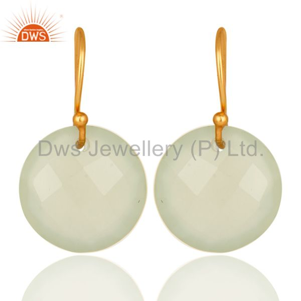 Faceted Dyed Chalcedony Yellow 18K Gold Plated Sterling Silver Hook Earrings