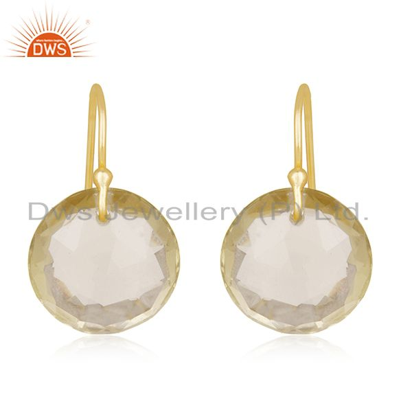 18K Yellow Gold Plated Sterling Lemon Topaz Gemstone Round Dangle Earrings