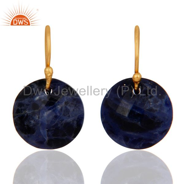 Natural Sodalite Gemstone 18K Yellow Gold Plated Sterling Silver Hook Earrings