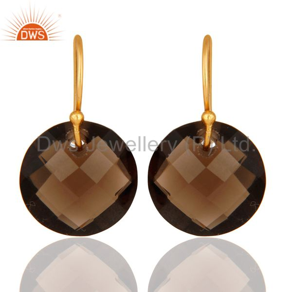 Smoky Quartz Faceted Round Shape Gemstone Dangle Earrings In 18K Gold On Silver