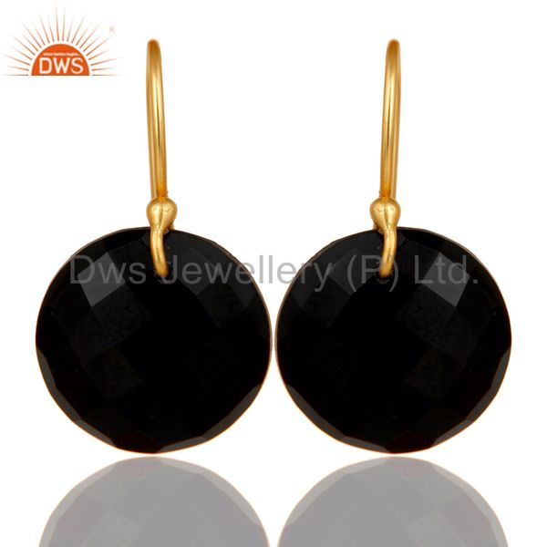 Black Onyx Faceted Round Shape Gemstone Dangle Earrings In 18K Gold On Silver