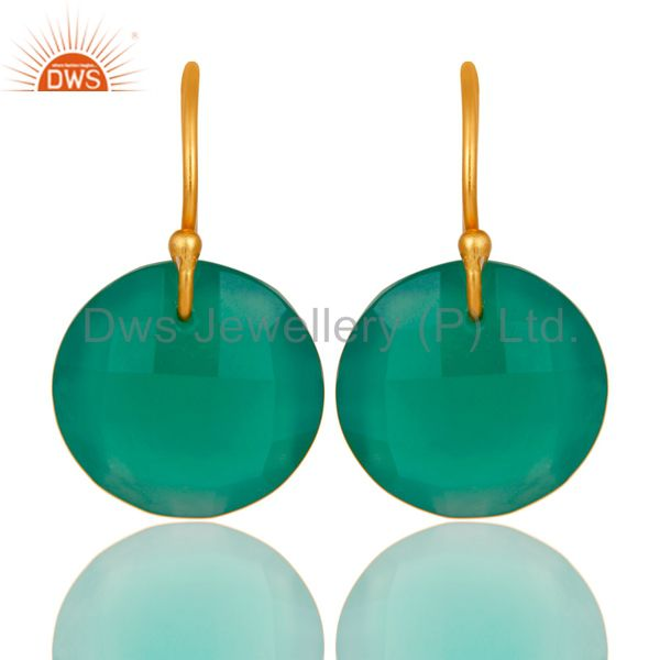 Green Onyx Faceted Round Shape Gemstone Dangle Earrings In 18K Gold On Silver