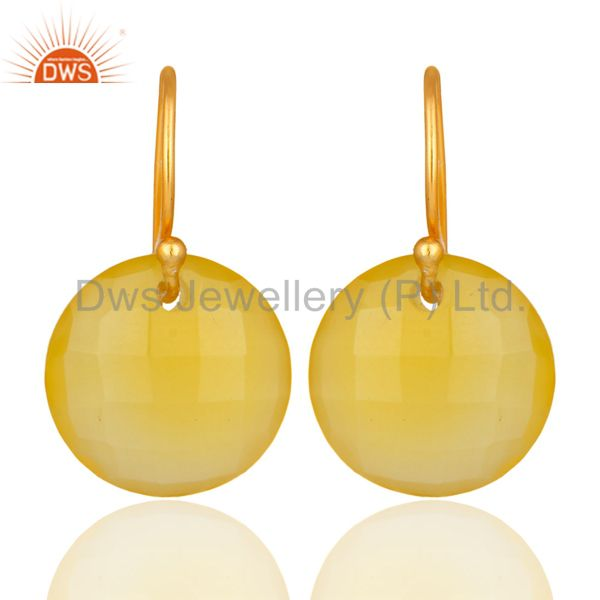 Faceted Yellow Chalcedony Gemstone Gold Plated Sterling Silver Hook Earrings