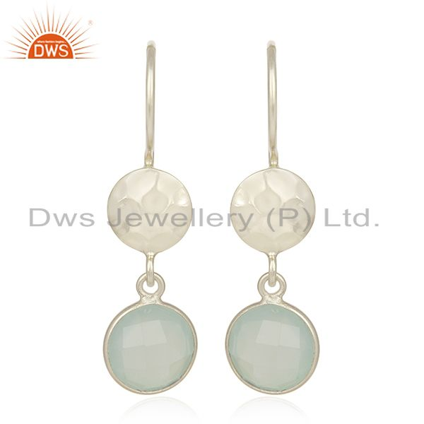 Handmade Sterling Silver Aqua Chalcedony Glass Gemstone Dangle Earrings