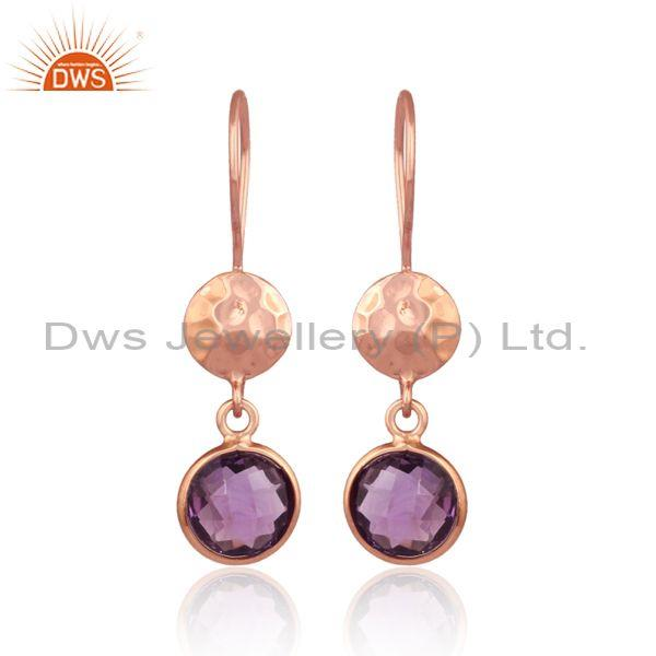 Amethyst Set Rose Gold On 925 Silver Hand Hammered Earrings