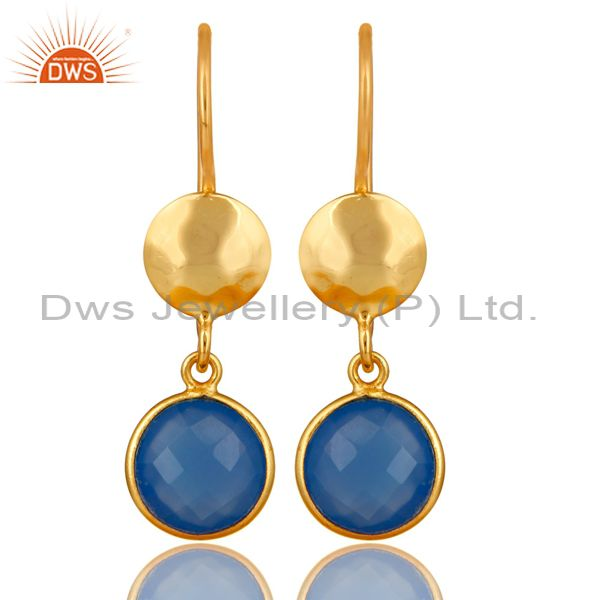18K Yellow Gold Plated Sterling Silver Blue Chalcedony Disc Dangle Earrings