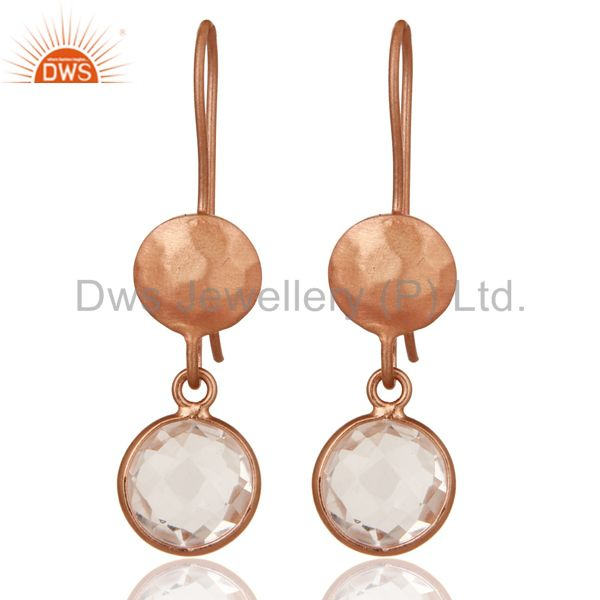 18K Rose Gold Plated Sterling Silver Crystal Quartz Circle Dangle Earrings