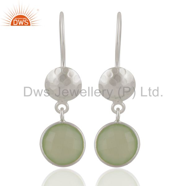 Faceted Green Chalcedony Handmade Sterling Silver Fine Gemstone Earrings