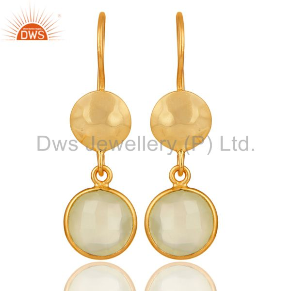 18K Yellow Gold Plated Sterling Silver Prehnite Chalcedony Disc Dangle Earrings