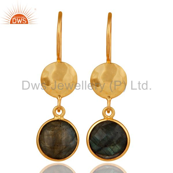 18K Yellow Gold Plated Sterling Silver Labradorite Disc Dangle Earrings