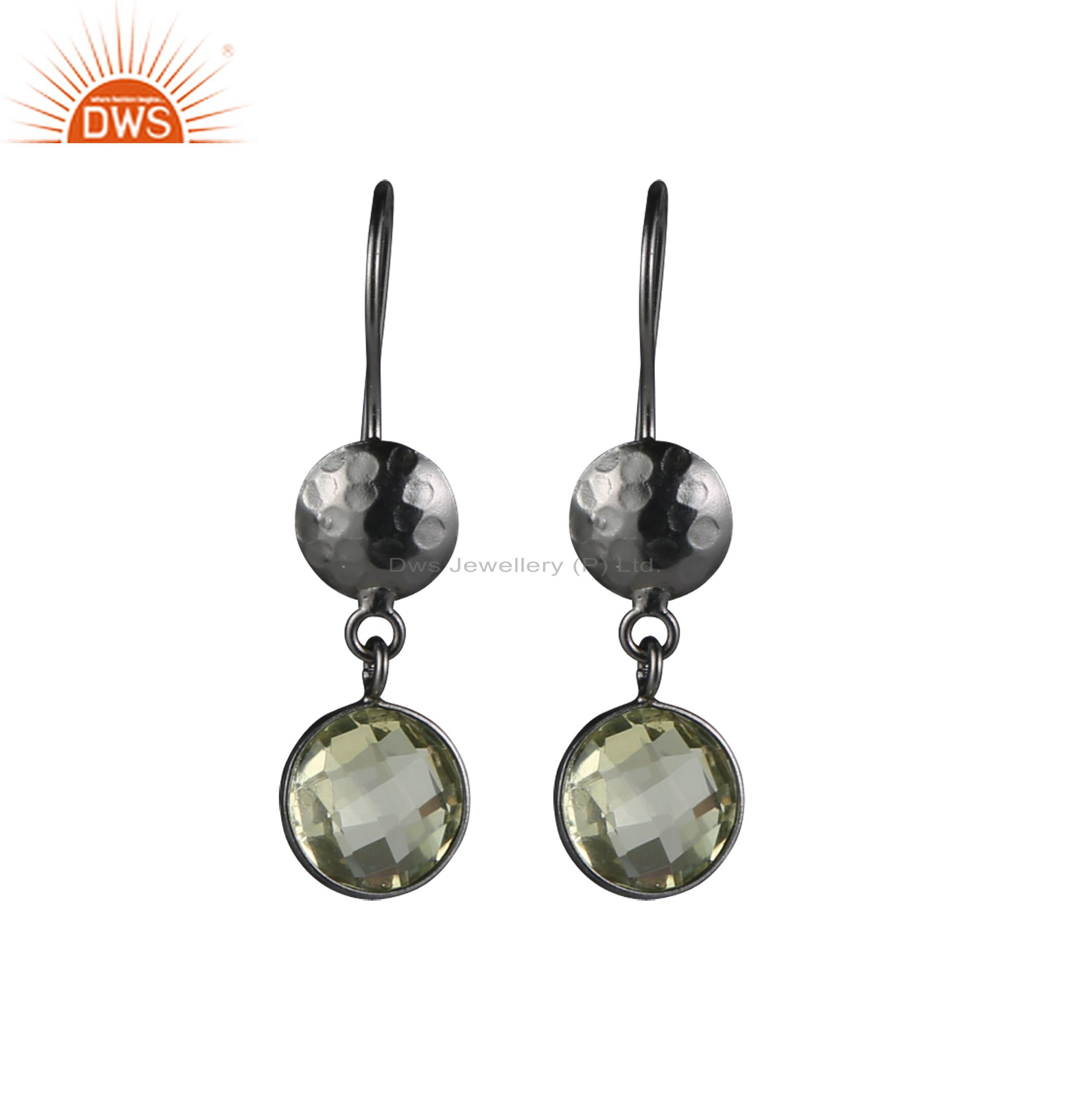 925 Sterling Silver With Oxidized Lemon Topaz Gemstone Bezel Set Dangle Earrings