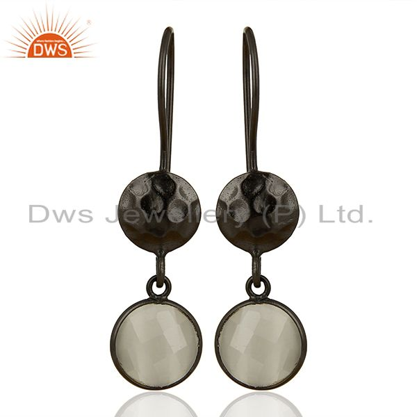Oxidized Solid Sterling Silver White Moonstone Hammered Disc Dangle Earrings
