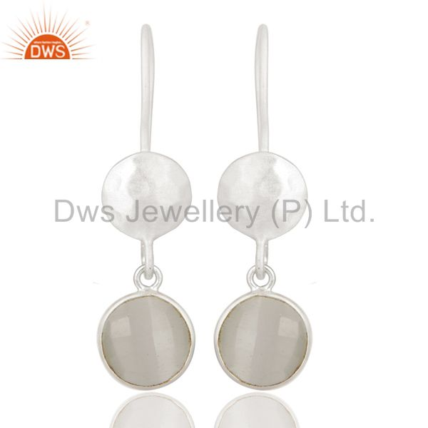 925 Sterling Silver White Moonstone Gemstone Bezel Set Dangle Earrings