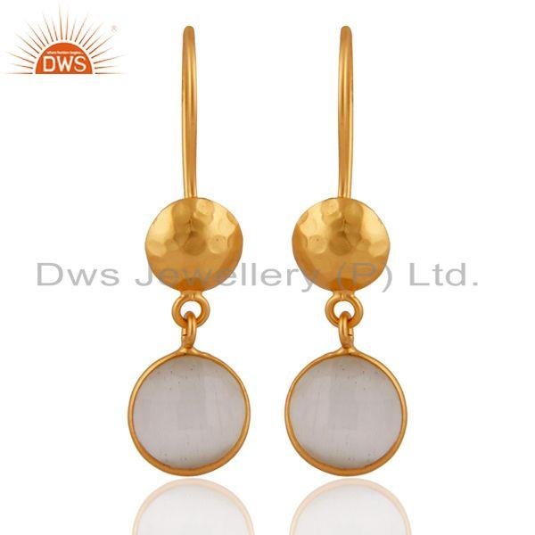 18K Yellow Gold Plated Sterling Silver White Moonstone Bezel Set Drop Earrings