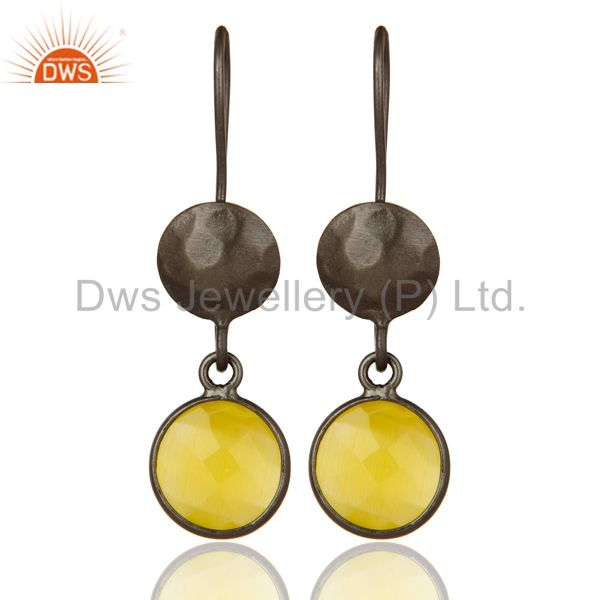 Oxidized Solid Sterling Silver Yellow Moonstone Bezel Set Dangle Earrings