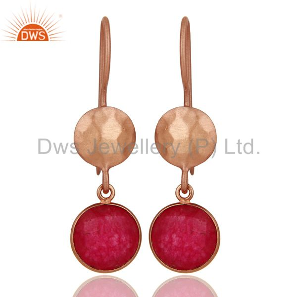 18K Rose Gold Plated Sterling Silver Red Aventurine Gemstone Dangle Earrings