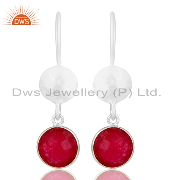 Handmade Sterling Silver Red Aventurine Gemstone Dangle Earrings
