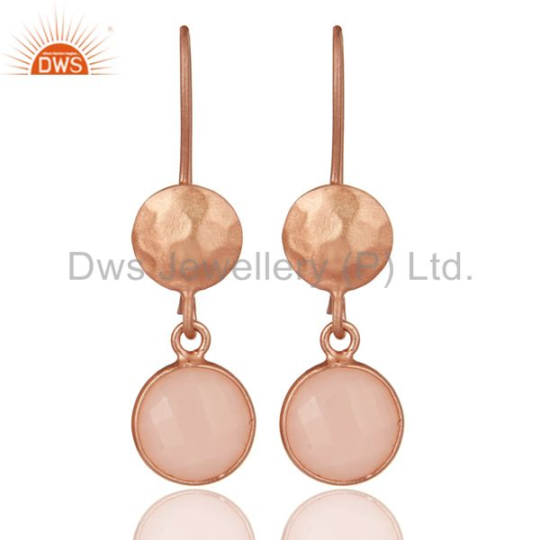 14K Rose Gold Plated Sterling Silver Dyed Chalcedony Bezel Set Drops Earrings