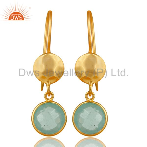 22K Gold Plated Silver Aqua Glass Chalcedony Hammered Disc Dangle Earrings