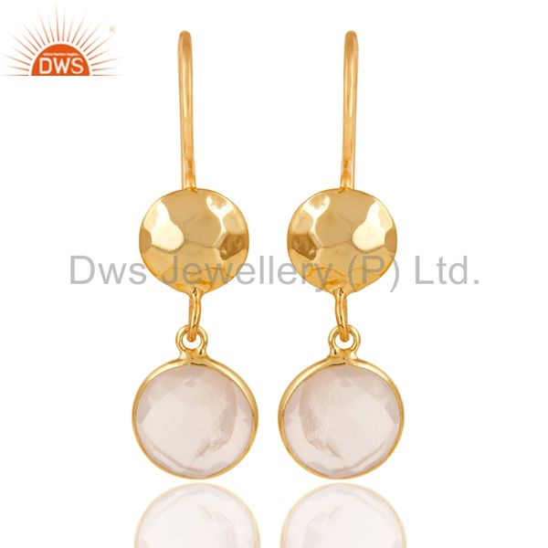 22K Gold Plated 925 Sterling Silver Rose Quartz Hammered Disc Dangle Earrings