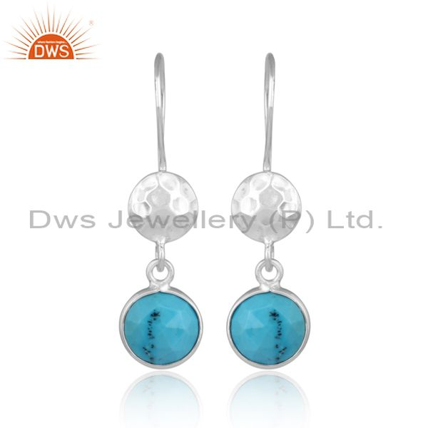Turquoise Set Fine Sterling Silver Hand Hammered Earrings