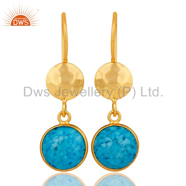 Turquoise Bezel Set Gemstone Dangle Earrings In 18K Gold Plated Sterling Silver