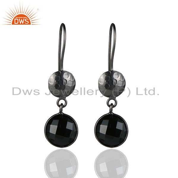 Oxidized Sterling Silver Black Onyx Gemstone Hammered Disc Dangle Earrings