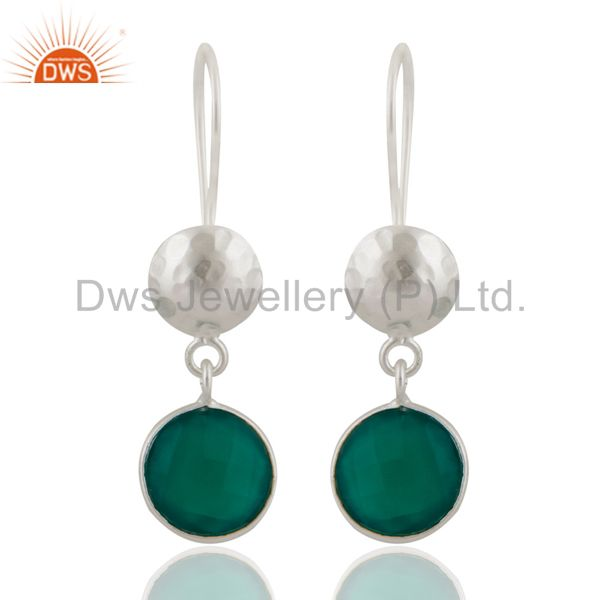 Natural Green Onyx Gemstone Sterling Silver Handmade Dangle Earrings
