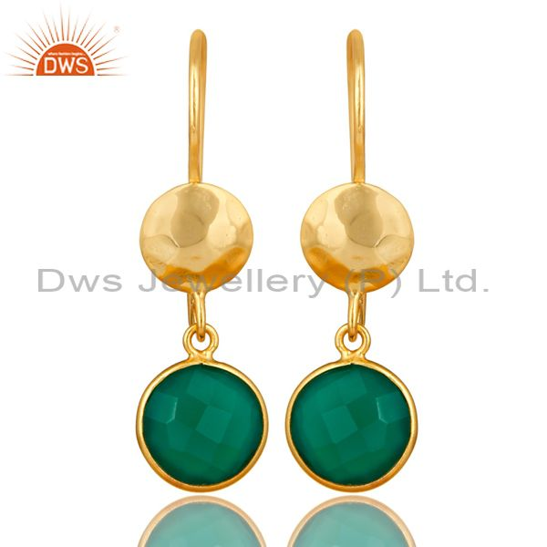 22K Yellow Gold Plated Silver Green Onyx Hammered Disc Dangle Earrings