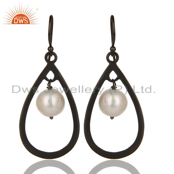 Black Oxidized 925 Sterling Silver Pearl Beads Temple Design Drops Earrings