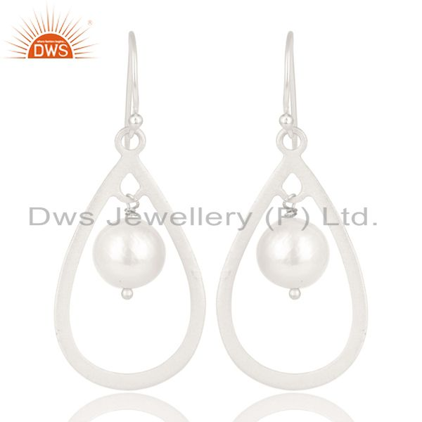 Handmade Solid 925 Sterling Silver Pearl Beads Temple Design Drops Earrings