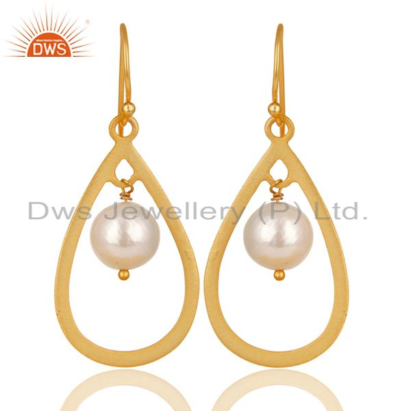 14K Gold Plated 925 Sterling Silver Pearl Beads Temple Design Drops Earrings