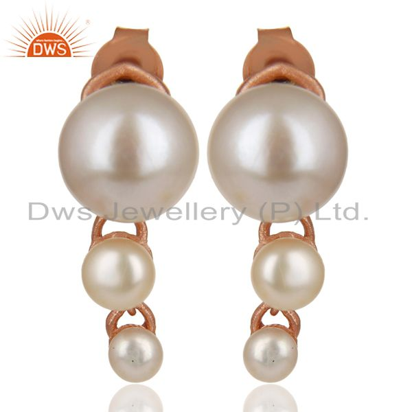Natural Pearl Stud 18K Rose Gold Plated 925 Sterling Silver Earrings Jewelry
