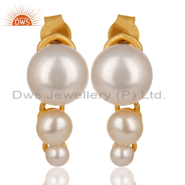 14K Yellow Gold Plated 925 Sterling Silver Handmade Pearl Beads Drops Earrings