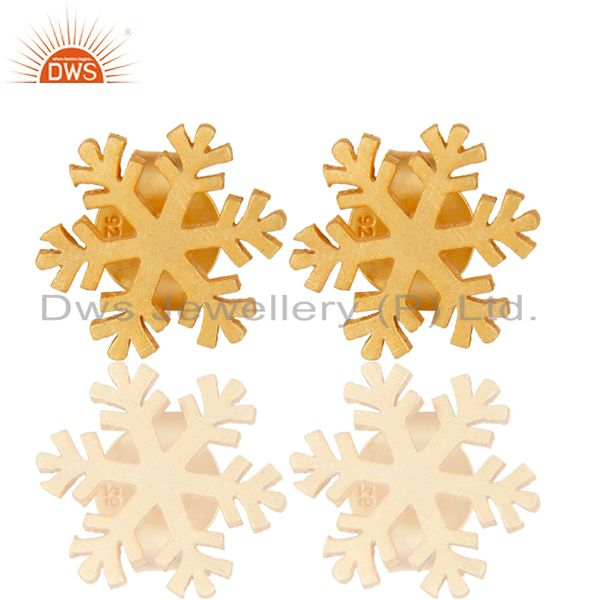 14K Gold Plated 925 Sterling Silver Handmade Beautiful Design Studs Earrings